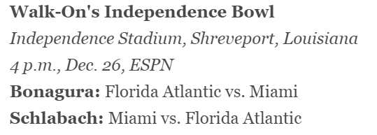 ESPN Bowl Projection
