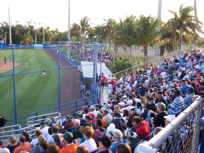 A mixed crowd of 1,682 takes in the game at FAU Stadium