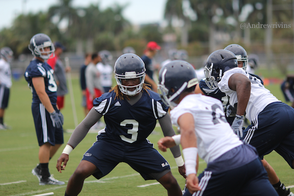 FAU utility man DJ Juste did it all on Thursday. He caught passes, ran the ball and even took a few snaps in practice. He also worked with the special teams units.